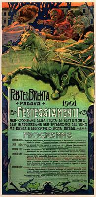 Vintage Advertising Poster - Horse Racing In Padova - Ponte Brenta Art Print