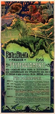 Art Collection Mixed Media - Vintage Advertising Poster - Horse Racing In Padova - Ponte Brenta by Studio Grafiikka