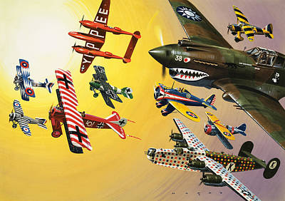 Vintage Aircraft Montage Print by Wilf Hardy