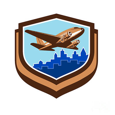 Passenger Plane Digital Art - Vintage Airplane Take Off Cityscape Shield Retro by Aloysius Patrimonio