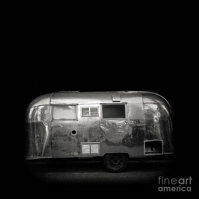 Silver Moonlight Photograph - Vintage Airstream Travel Camper Trailer Square by Edward Fielding