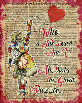Vintage Alice In Wonderland Collage Who In The World Am I Quote Art Print by Jacob Kuch