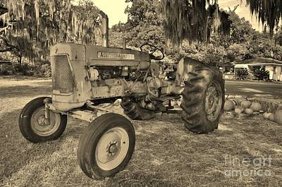 Photograph - Vintage Allis Chalmers Tractor In Sepia by Bob Sample