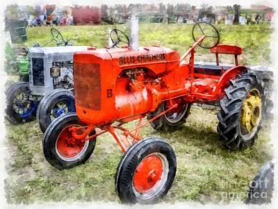 John Deere Wall Art - Photograph - Vintage Allis-chalmers Tractor Watercolor by Edward Fielding