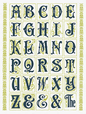 Digital Art - Vintage Alphabet by Aged Pixel