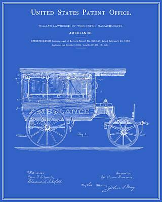 Vintage Ambulance Patent - Blueprint Print by Finlay McNevin