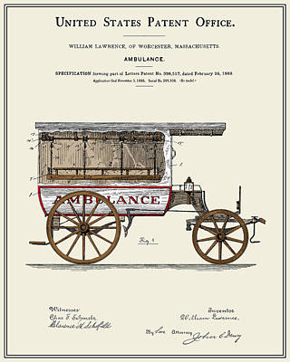 Vintage Ambulance Patent - Colour Print by Finlay McNevin