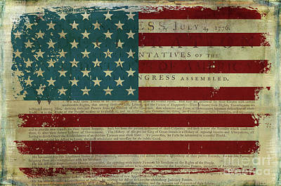 Painting - Vintage American Flag Americana Declaration Of Independence by Audrey Jeanne Roberts