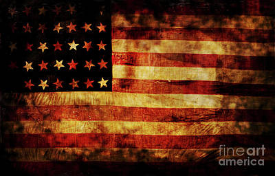 Red White And Blue Photograph - Vintage American Flag by Jon Neidert
