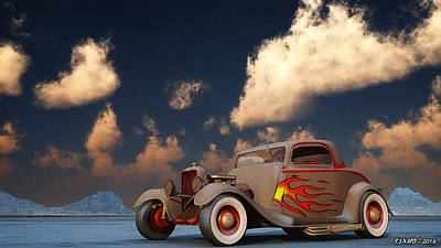 Hot Rod Mixed Media - Vintage American Hot Rod by Ken Morris