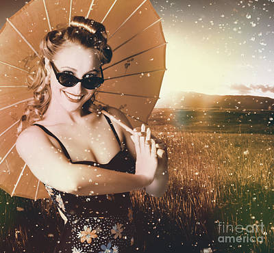 Photograph - Vintage American Pin-up Girl In Summer Rain by Jorgo Photography - Wall Art Gallery