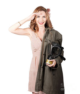 Vintage American Pinup Girl. Army Style Art Print by Jorgo Photography - Wall Art Gallery