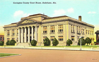 Photograph - Vintage Andalusia Alabama - Court House by Mark Tisdale