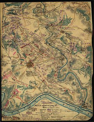 Bloody Battle Drawing - Vintage Antietam Battlefield Map  by CartographyAssociates
