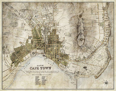 Port Town Digital Art - Vintage Antique Cape Town South Africa City Map by ELITE IMAGE photography By Chad McDermott