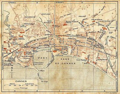 Vintage Antique City Map Cannes France Art Print