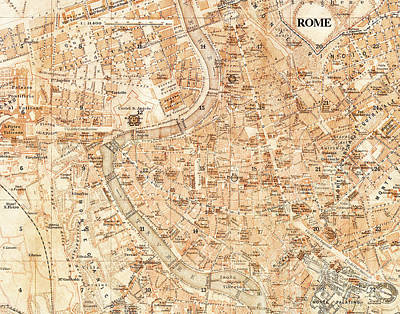 City Map Photograph - Vintage Antique City Map by ELITE IMAGE photography By Chad McDermott