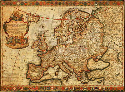 England Mixed Media - Vintage Antique Map Of Europe French Origin Circa 1700 On Worn Distressed Parchment Canvas by Design Turnpike