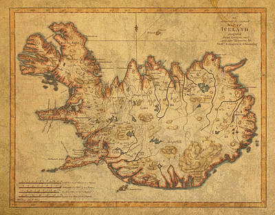 Antiques Mixed Media - Vintage Antique Map Of Iceland by Design Turnpike
