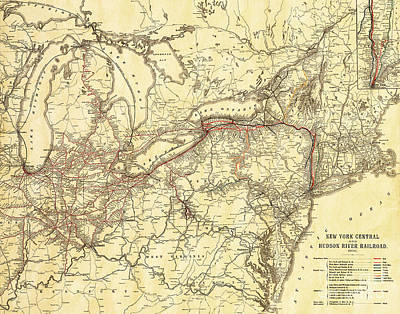 Vintage Antique Map Of The New York Central And Hudson River Rai Print by ELITE IMAGE photography By Chad McDermott