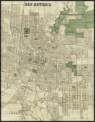 Vintage Antique San Antonio Texas City Map Art Print by ELITE IMAGE photography By Chad McDermott