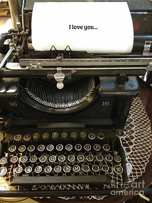 Vintage Antique Typewriter - Inspirational Vintage Typewriter  Art Print by Kathy Fornal