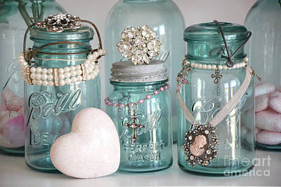 Photograph - Vintage Aqua Blue Mason Ball Jars Romantic Bejeweled Heart Print And Home Decor by Kathy Fornal