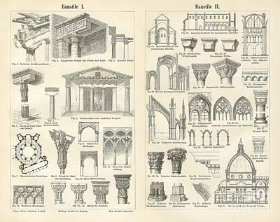 Temple Drawing - Vintage Architectural Drawings  Baustile I And Baustile II by German School