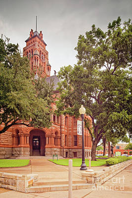 Vintage Architectural Image Of The Ellis County Courthouse - Waxahachie North Texas Art Print