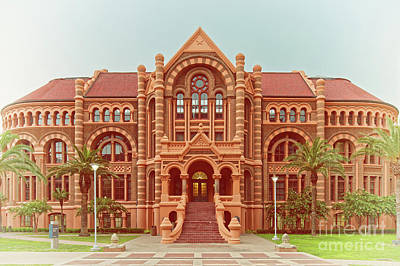 Photograph - Vintage Architectural Photograph Of Ashbel Smith Old Red Building At Utmb - Downtown Galveston Texas by Silvio Ligutti