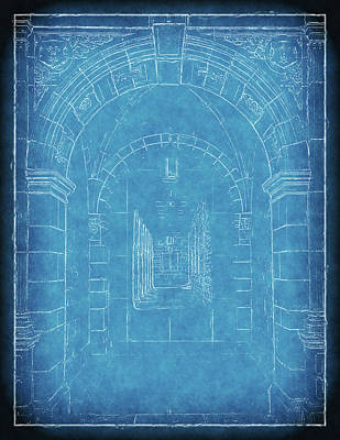 University Of Michigan Digital Art - Vintage Archway Blueprint by Phil Perkins
