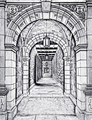 University Of Michigan Digital Art - Vintage Archway Passage by Phil Perkins