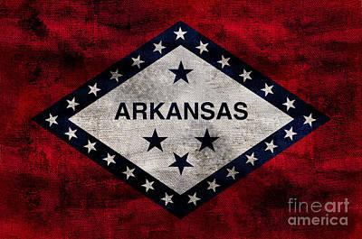 Vintage Arkansas Flag Art Print by Jon Neidert