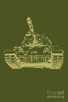 Vintage Army Tank Art Print by Emily Kay