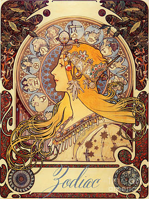 Mucha Painting - Vintage Art Nouveau Zodiac by Mindy Sommers
