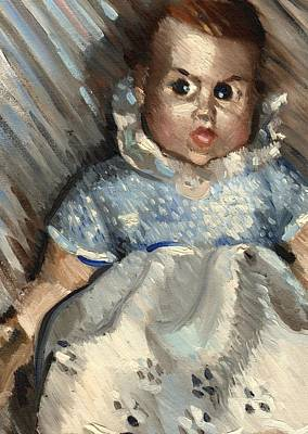 Doll Painting - Vintage Baby Art Print by Tommervik