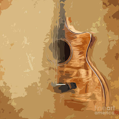 Birthday Present Painting - Vintage Background Guitar by Pablo Franchi