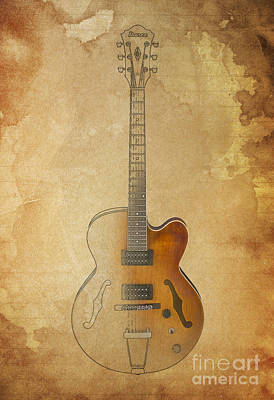 Vintage Background Ibanez Guitar Art Print by Pablo Franchi