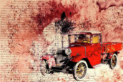 Antique Cars Mixed Media - Vintage Background by Mountain Dreams