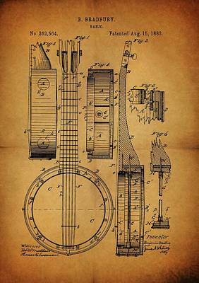Recently Sold - Musicians Drawings Rights Managed Images - Vintage Banjo Patent Royalty-Free Image by Dan Sproul