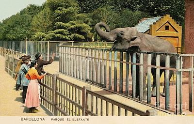Belle Epoque Digital Art - Vintage Barcelona Park The Elephant  by Heidi De Leeuw