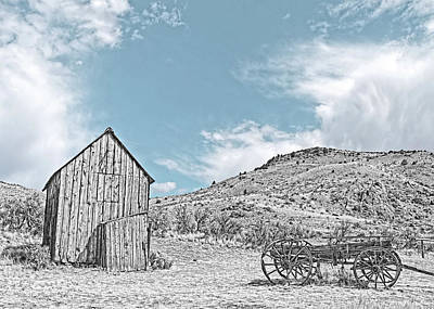 Photograph - Vintage Barn And Wooden Wagon Black And White by Jennie Marie Schell