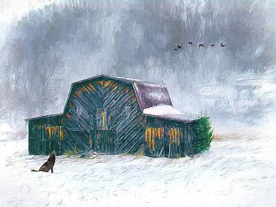 Painting - Vintage Barn In The Snow Ap by Dan Carmichael