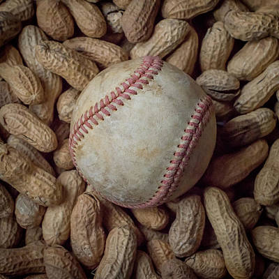 Vintage Baseball And Peanuts Square Art Print by Terry DeLuco