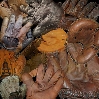 Photograph - Vintage Baseball Gloves by Andrew Fare
