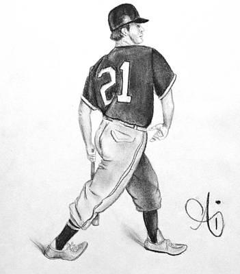 Mlb Drawing - Vintage Baseball Player - Drawing by Ai P Nilson