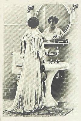 Nikki Vig Digital Art - Vintage Bathroom Wall Art Lady in Mirror by Nikki Vig