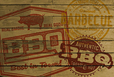 Rubber Stamps Digital Art - Vintage Bbq Barbecue Sign by David Holm