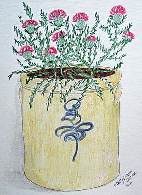 Crocks Painting - Vintage Bee Sting Crock And Thistles by Kathy Marrs Chandler