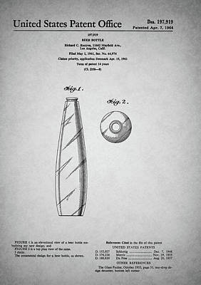 Drawing - Vintage Beer Bottle Patent by Dan Sproul